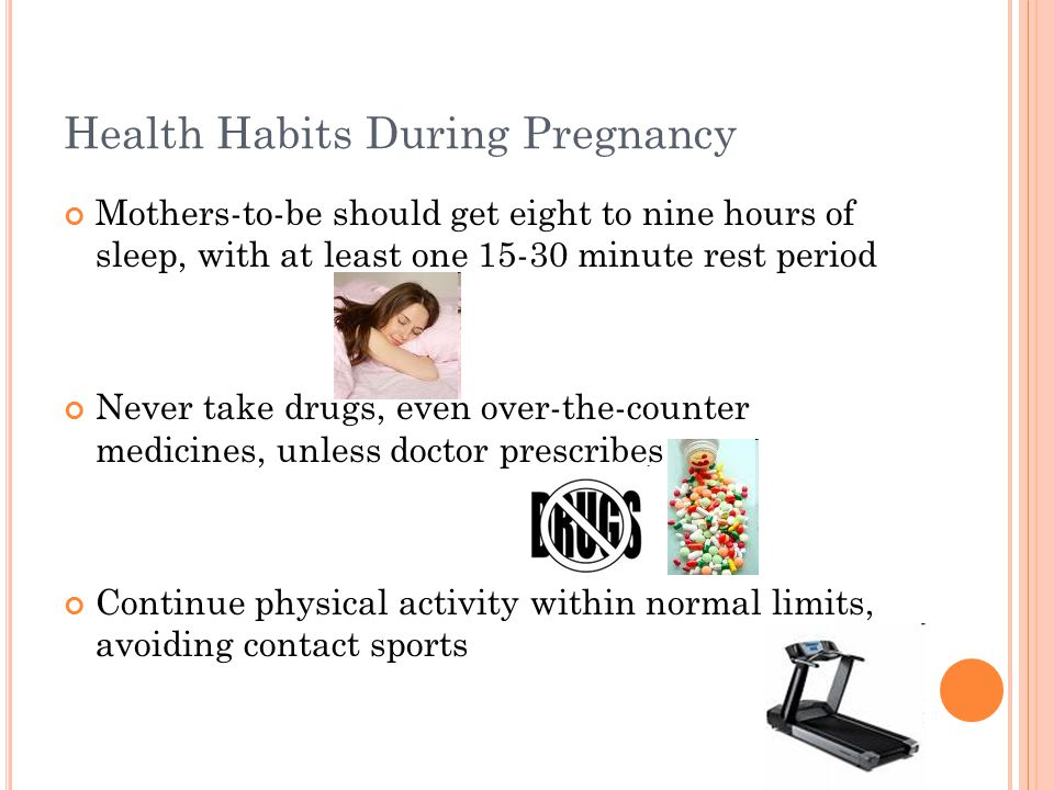 Illnesses in the Mother Gestational Diabetes – appears in pregnant women who did not have diabetes prior to pregnancy; usually goes away soon after pregnancy Women with gestational diabetes usually have larger babies (10-12 lbs.) Pregnancy Induced Hypertension (preeclampsia or toxemia) – sudden increase in blood pressure, protein in urine, and swelling; happens late in pregnancy Treatment includes bed rest, medicine, or early delivery of the baby