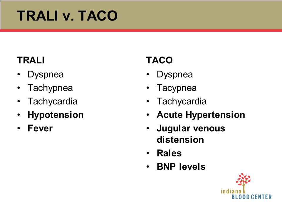 TRALI v. TACO TRALI Dyspnea Tachypnea Tachycardia Hypotension Fever TACO Dyspnea Tacypnea Tachycardia Acute Hypertension Jugular venous distension Ral