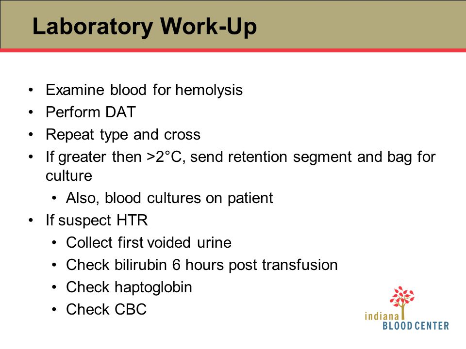 Laboratory Work-Up Examine blood for hemolysis Perform DAT Repeat type and cross If greater then >2°C, send retention segment and bag for culture Also