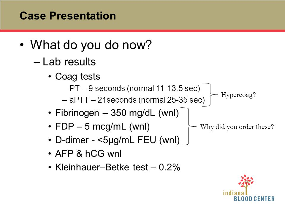Case Presentation What do you do now? –Lab results Coag tests –PT – 9 seconds (normal 11-13.5 sec) –aPTT – 21seconds (normal 25-35 sec) Fibrinogen – 3
