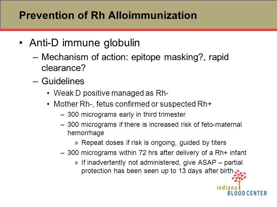 Prevention of Rh Alloimmunization Anti-D immune globulin –Mechanism of action: epitope masking?, rapid clearance? –Guidelines Weak D positive managed