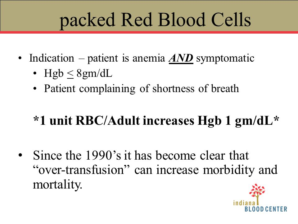 packed Red Blood Cells Indication – patient is anemia AND symptomatic Hgb < 8gm/dL Patient complaining of shortness of breath *1 unit RBC/Adult increa