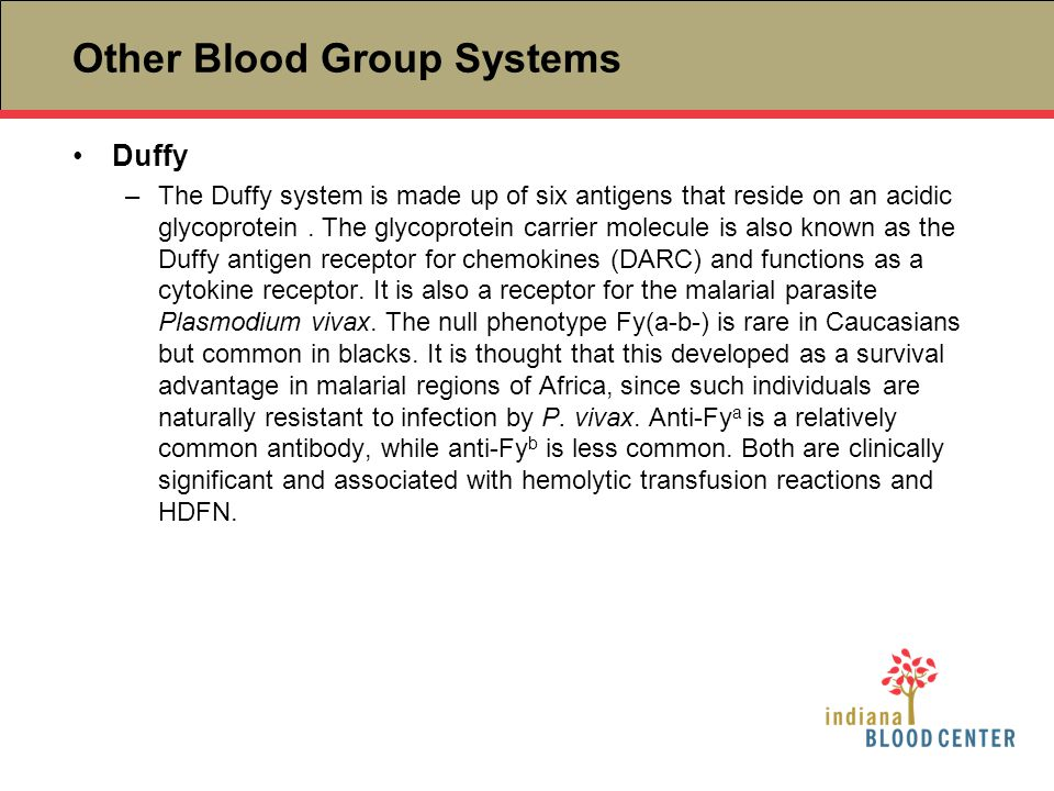 Other Blood Group Systems Duffy –The Duffy system is made up of six antigens that reside on an acidic glycoprotein. The glycoprotein carrier molecule
