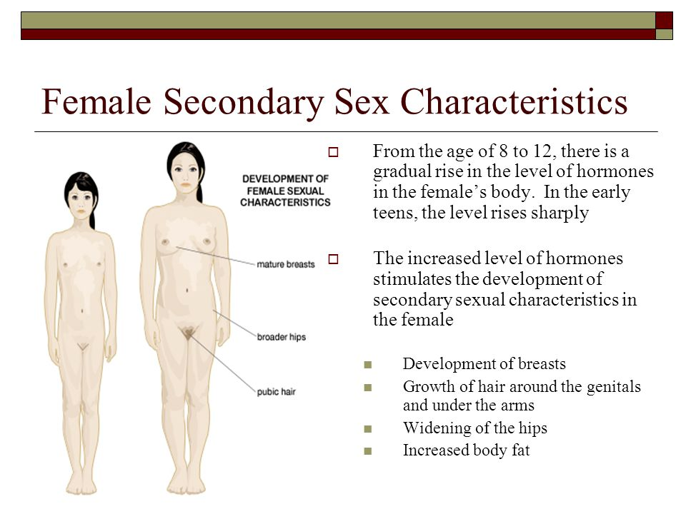 Female Secondary Sex Characteristics  From the age of 8 to 12, there is a gradual rise in the level of hormones in the female's body. In the early te