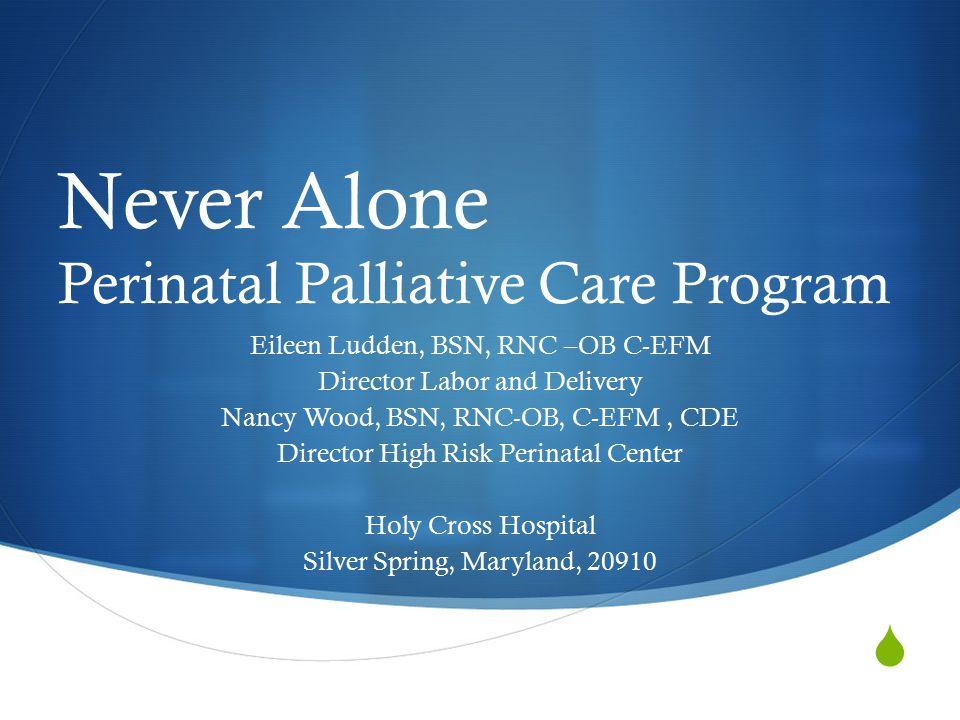  Never Alone Perinatal Palliative Care Program Eileen Ludden, BSN, RNC –OB C-EFM Director Labor and Delivery Nancy Wood, BSN, RNC-OB, C-EFM, CDE Director High Risk Perinatal Center Holy Cross Hospital Silver Spring, Maryland, 20910