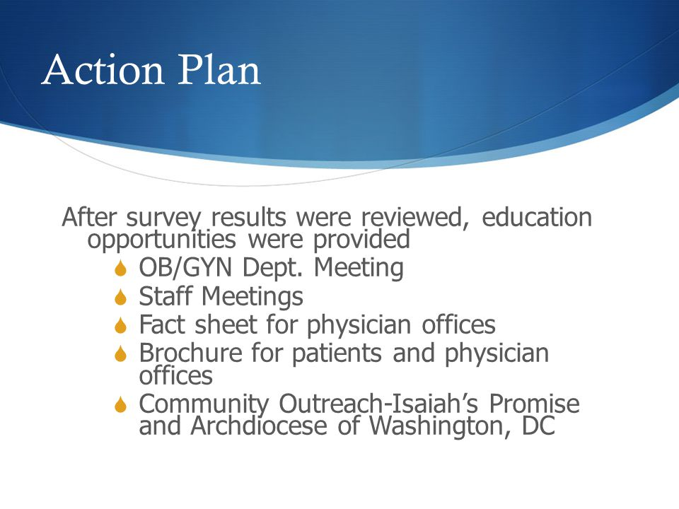 Action Plan After survey results were reviewed, education opportunities were provided  OB/GYN Dept. Meeting  Staff Meetings  Fact sheet for physici