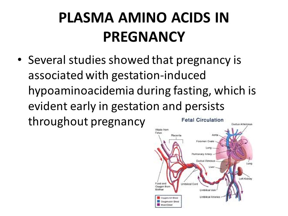 PLASMA AMINO ACIDS IN PREGNANCY Several studies showed that pregnancy is associated with gestation-induced hypoaminoacidemia during fasting, which is evident early in gestation and persists throughout pregnancy