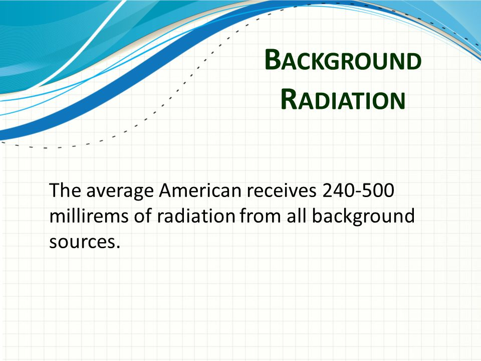 B ACKGROUND R ADIATION The average American receives 240-500 millirems of radiation from all background sources.