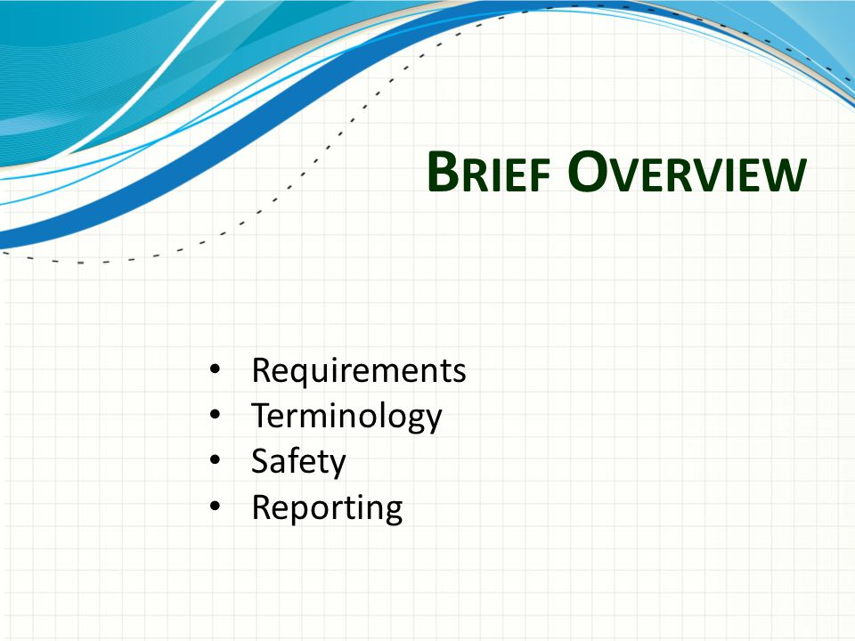 B RIEF O VERVIEW Requirements Terminology Safety Reporting