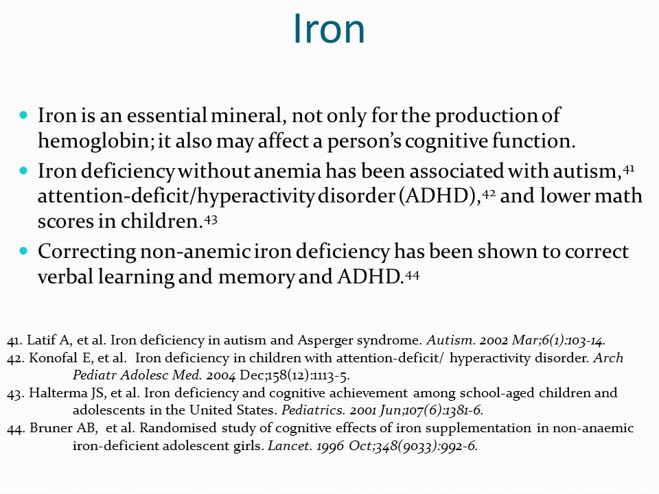 Iron Iron is an essential mineral, not only for the production of hemoglobin; it also may affect a person's cognitive function. Iron deficiency withou