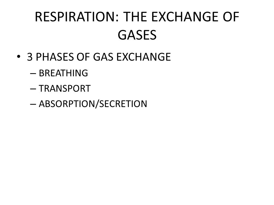 RESPIRATION: THE EXCHANGE OF GASES BREATHING VENTILATES THE LUNGS – NEGATIVE PRESSURE BREATHING AIR TRAVELS FROM A REGION OF HIGH PRESSURE TO A REGION OF LOW PRESSURE – VITAL CAPACITY THE MAXIMUM VOLUME OF AIR THAT WE CAN INHALE AND EXHALE – AS AGE INCREASES, RESIDUAL VOLUME (AMOUNT OF DEAD AIR LEFT IN ALVEOLI) INCREASES; SO THE VITAL CAPACITY DECREASES