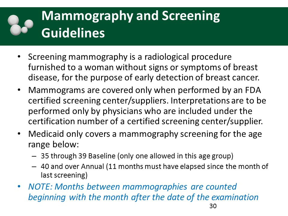 Mammography and Screening Guidelines Screening mammography is a radiological procedure furnished to a woman without signs or symptoms of breast diseas