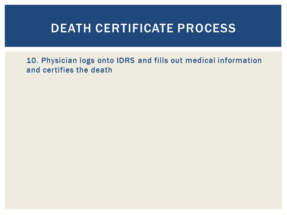 DEATH CERTIFICATE PROCESS 10.