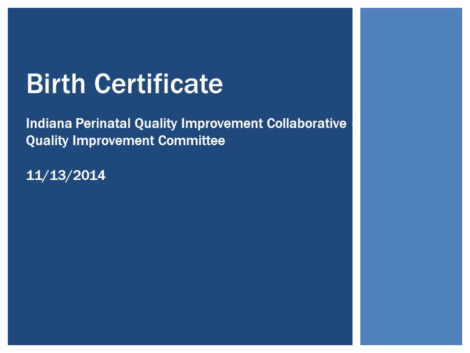 Birth Certificate Indiana Perinatal Quality Improvement Collaborative – Quality Improvement Committee 11/13/2014