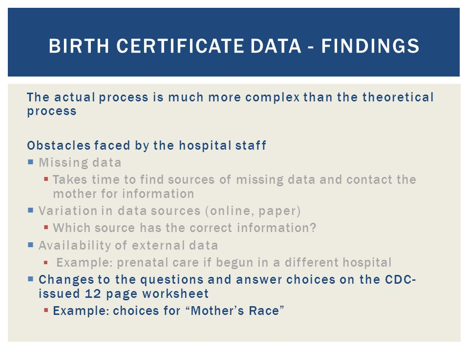 The actual process is much more complex than the theoretical process Obstacles faced by the hospital staff  Missing data  Takes time to find sources of missing data and contact the mother for information  Variation in data sources (online, paper)  Which source has the correct information.