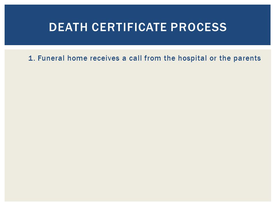 DEATH CERTIFICATE PROCESS 1.Funeral home receives a call from the hospital or the parents 2.