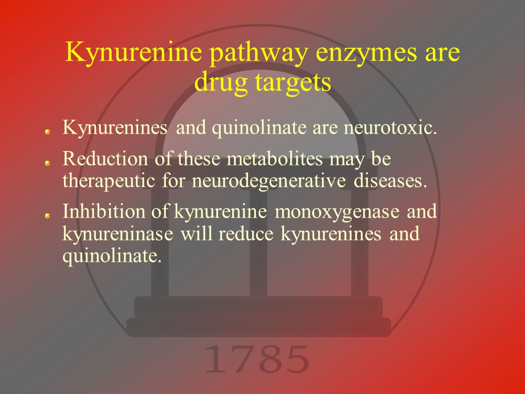 Kynurenine pathway enzymes are drug targets Kynurenines and quinolinate are neurotoxic.