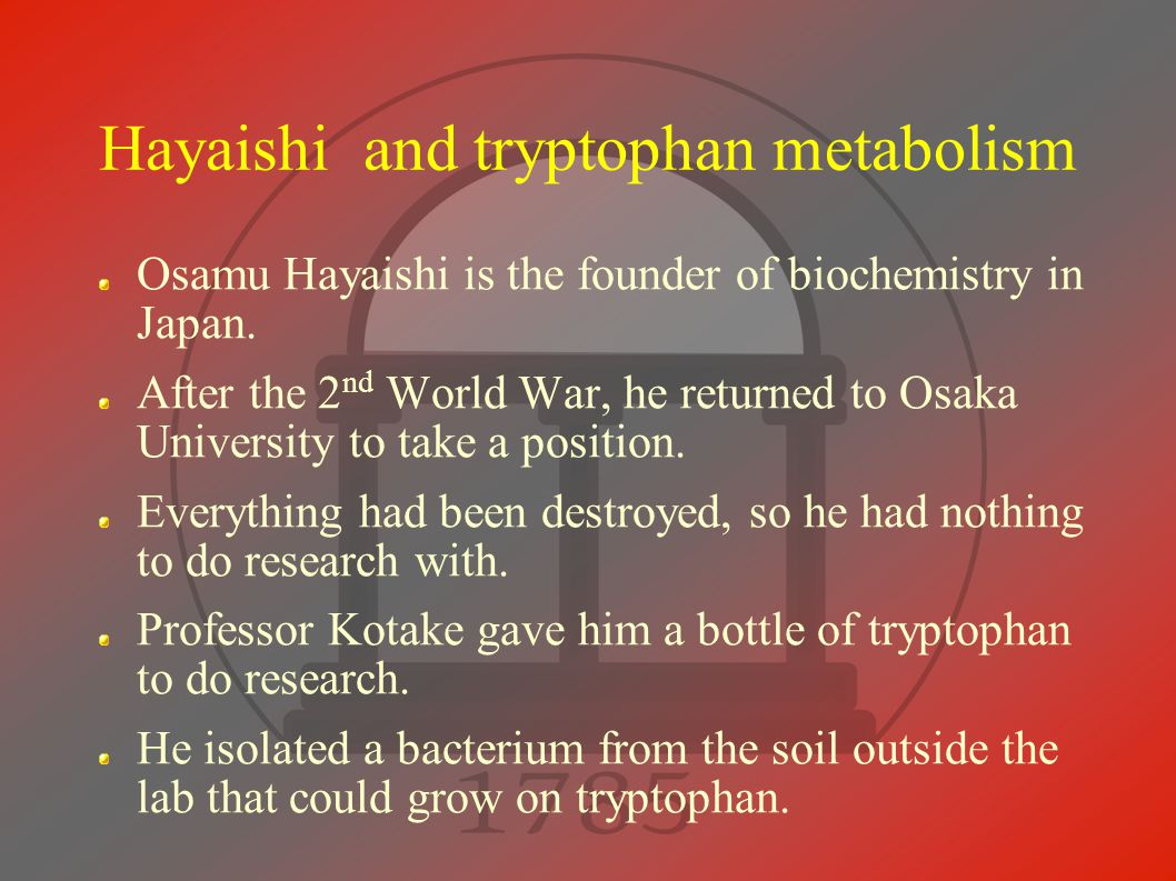 Hayaishi and tryptophan metabolism Osamu Hayaishi is the founder of biochemistry in Japan.