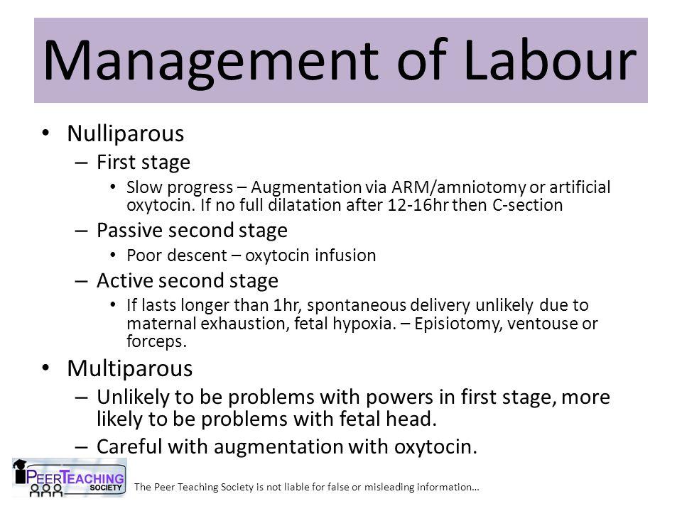 Nulliparous – First stage Slow progress – Augmentation via ARM/amniotomy or artificial oxytocin.