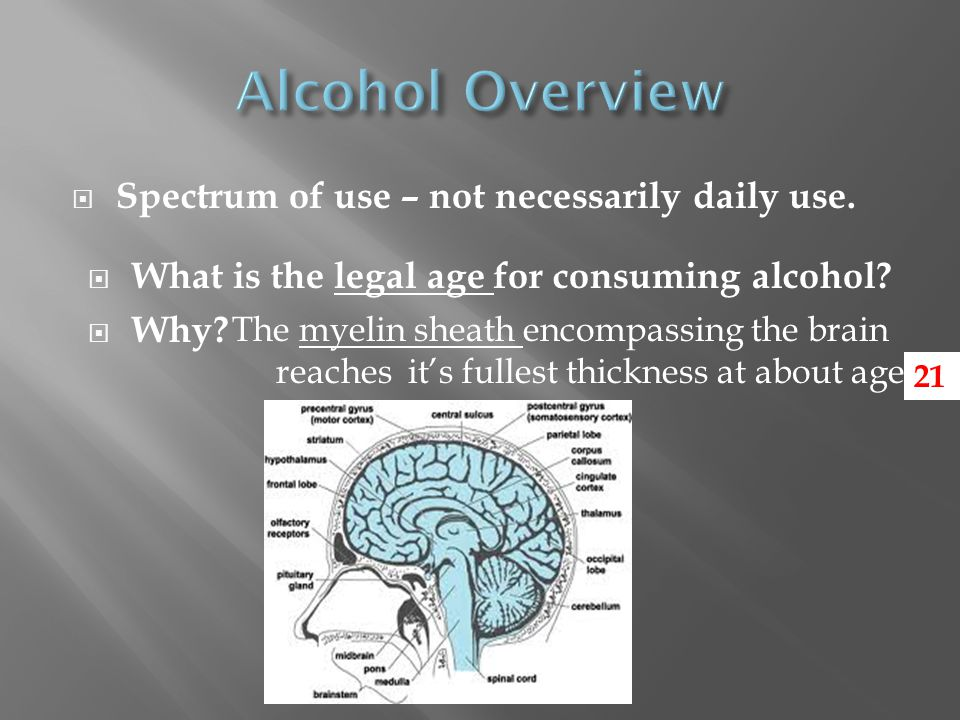  Spectrum of use – not necessarily daily use.  What is the legal age for consuming alcohol.