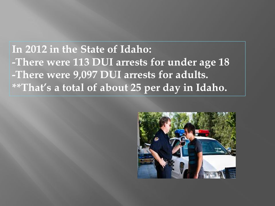 In 2012 in the State of Idaho: -There were 113 DUI arrests for under age 18 -There were 9,097 DUI arrests for adults. **That's a total of about 25 per