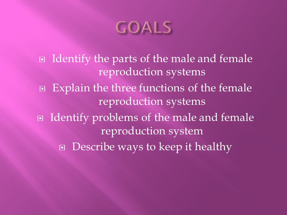  Identify the parts of the male and female reproduction systems  Explain the three functions of the female reproduction systems  Identify problems of the male and female reproduction system  Describe ways to keep it healthy