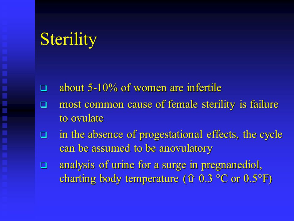 Sterility  about 5-10% of women are infertile  most common cause of female sterility is failure to ovulate  in the absence of progestational effects, the cycle can be assumed to be anovulatory  analysis of urine for a surge in pregnanediol, charting body temperature (  0.3 °C or 0.5°F)