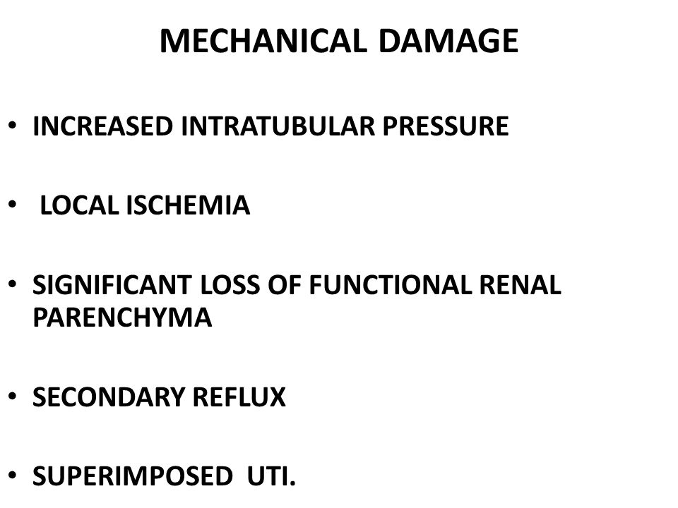 MECHANICAL DAMAGE INCREASED INTRATUBULAR PRESSURE LOCAL ISCHEMIA SIGNIFICANT LOSS OF FUNCTIONAL RENAL PARENCHYMA SECONDARY REFLUX SUPERIMPOSED UTI.