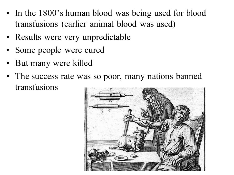 Karl Landsteiner: Began investigating why some blood transfusions work, and some do not In 1900, he determined that blood was of differing types and that only certain combinations of them were compatible By 1910, the identification of the ABO blood antigen gen explained the observed blood type incompatibilities