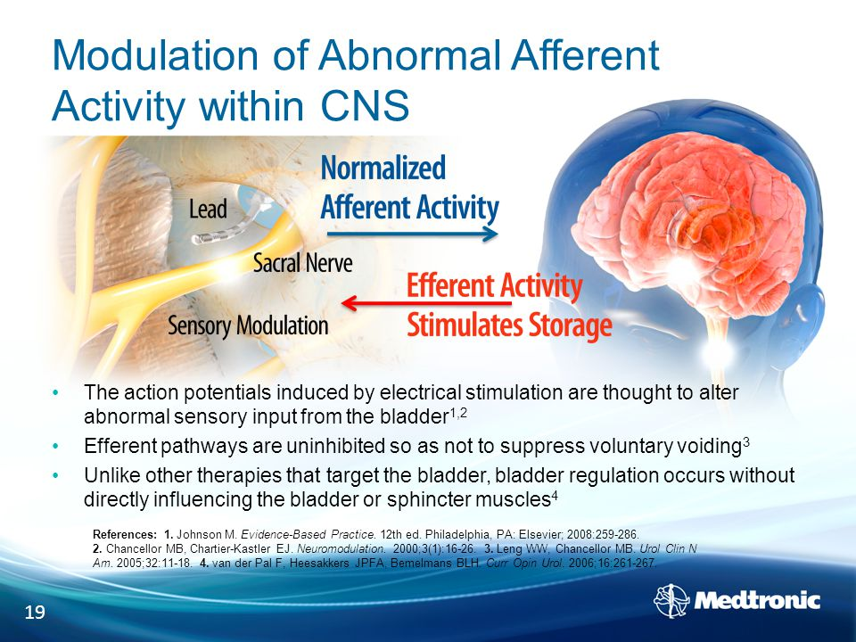 Modulation of Abnormal Afferent Activity within CNS The action potentials induced by electrical stimulation are thought to alter abnormal sensory input from the bladder 1,2 Efferent pathways are uninhibited so as not to suppress voluntary voiding 3 Unlike other therapies that target the bladder, bladder regulation occurs without directly influencing the bladder or sphincter muscles 4 19 References: 1.