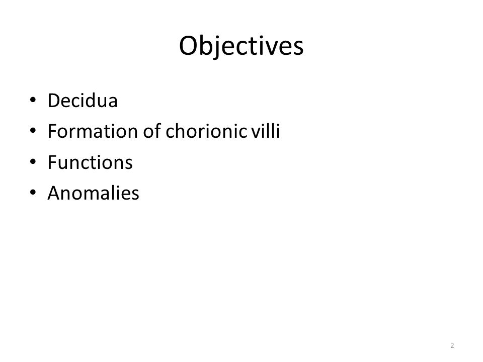 2 Objectives Decidua Formation of chorionic villi Functions Anomalies