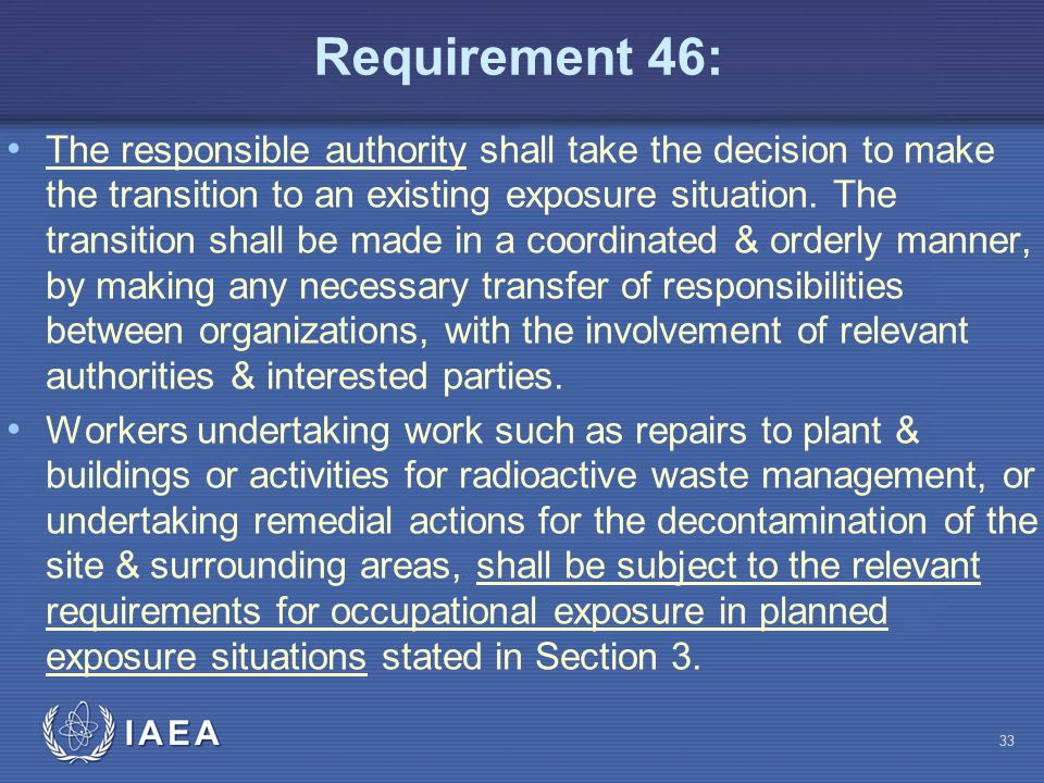 Requirement 46: The responsible authority shall take the decision to make the transition to an existing exposure situation. The transition shall be ma