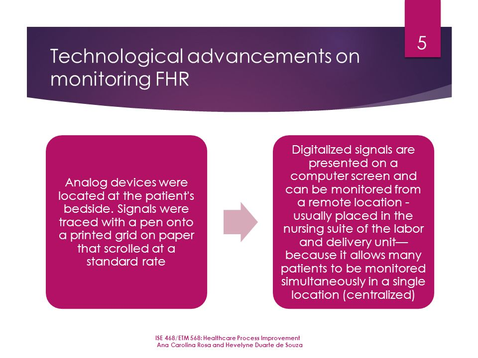 Technological advancements on monitoring FHR Analog devices were located at the patient s bedside.