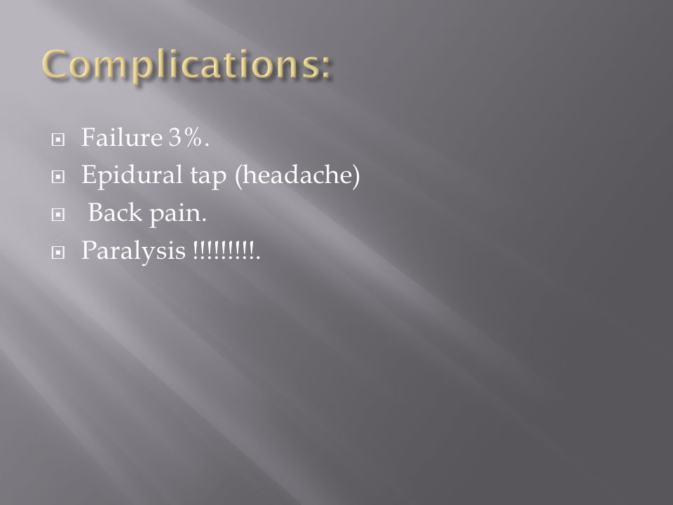  Failure 3%.  Epidural tap (headache)  Back pain.  Paralysis !!!!!!!!!.