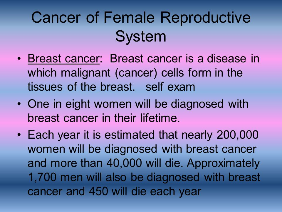 Cancer of Female Reproductive System Breast cancer: Breast cancer is a disease in which malignant (cancer) cells form in the tissues of the breast. se