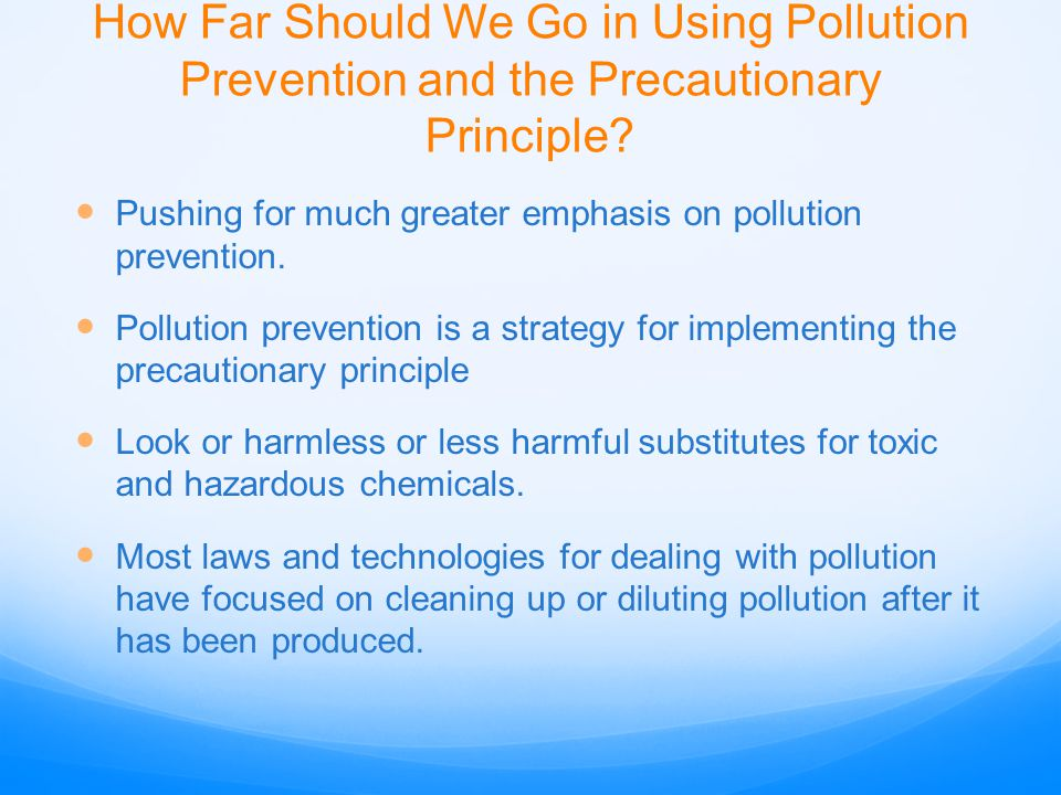 How Far Should We Go in Using Pollution Prevention and the Precautionary Principle? Pushing for much greater emphasis on pollution prevention. Polluti