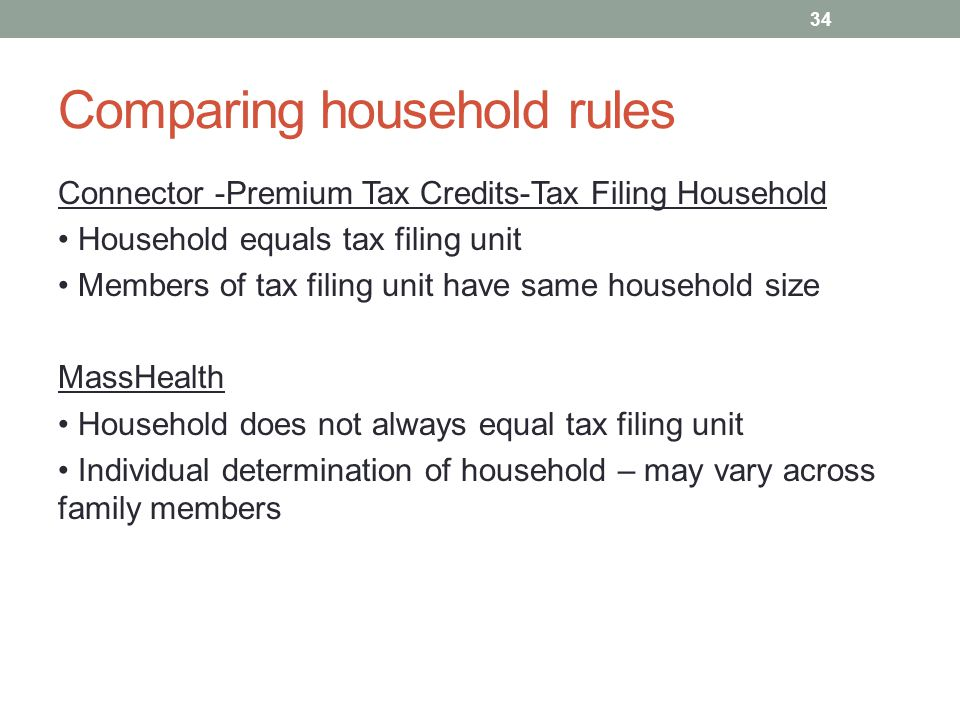 Comparing household rules Connector -Premium Tax Credits-Tax Filing Household Household equals tax filing unit Members of tax filing unit have same ho