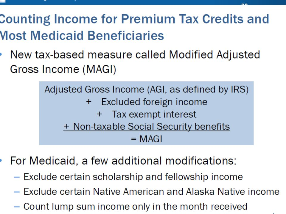 MODIFIED ADJUSTED GROSS INCOME (MAGI) Basic Benefit Training ...