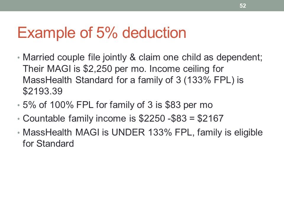 Example of 5% deduction Married couple file jointly & claim one child as dependent; Their MAGI is $2,250 per mo. Income ceiling for MassHealth Standar
