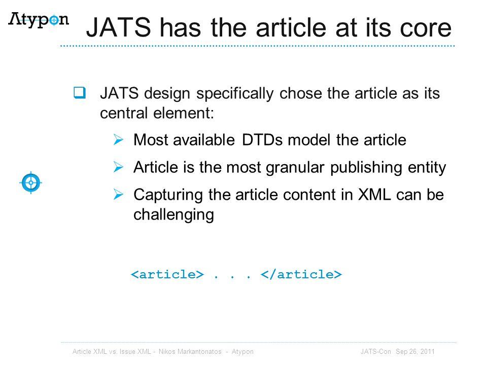 Multiple ToCs Article XML vs.