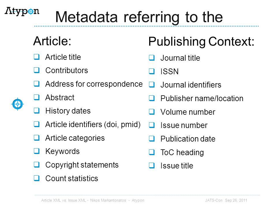 Override article metadata Article XML vs.