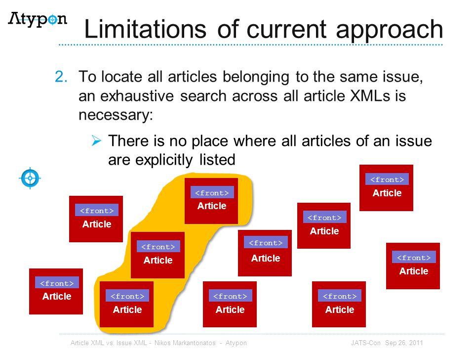 Override ToC authors Article XML vs. Issue XML - Nikos Markantonatos - Atypon JATS-Con Sep 26, 2011