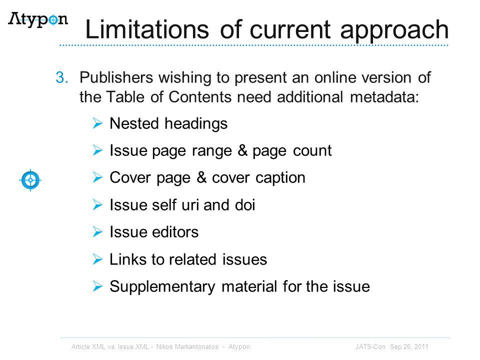 Issue XML: Article XML vs.