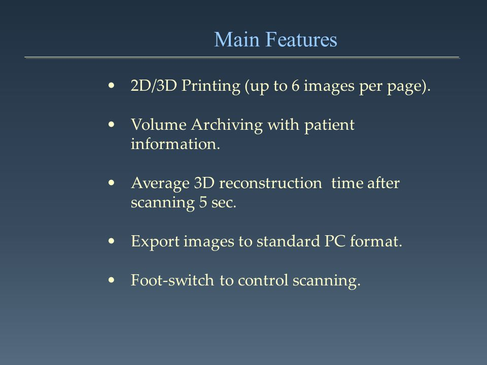 Main Features 2D/3D Printing (up to 6 images per page).