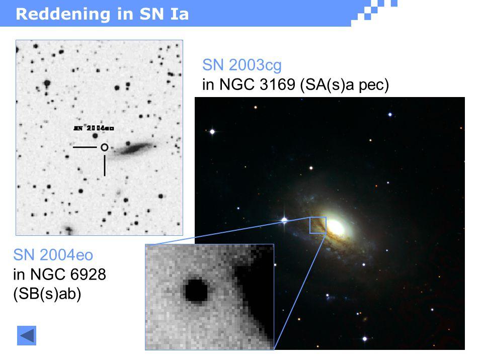 Reddening in SN Ia SN 2003cg in NGC 3169 (SA(s)a pec) SN 2004eo in NGC 6928 (SB(s)ab)