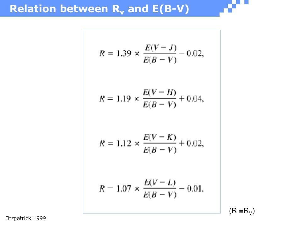 Relation between R v and E(B-V) Fitzpatrick 1999 (R  R V )