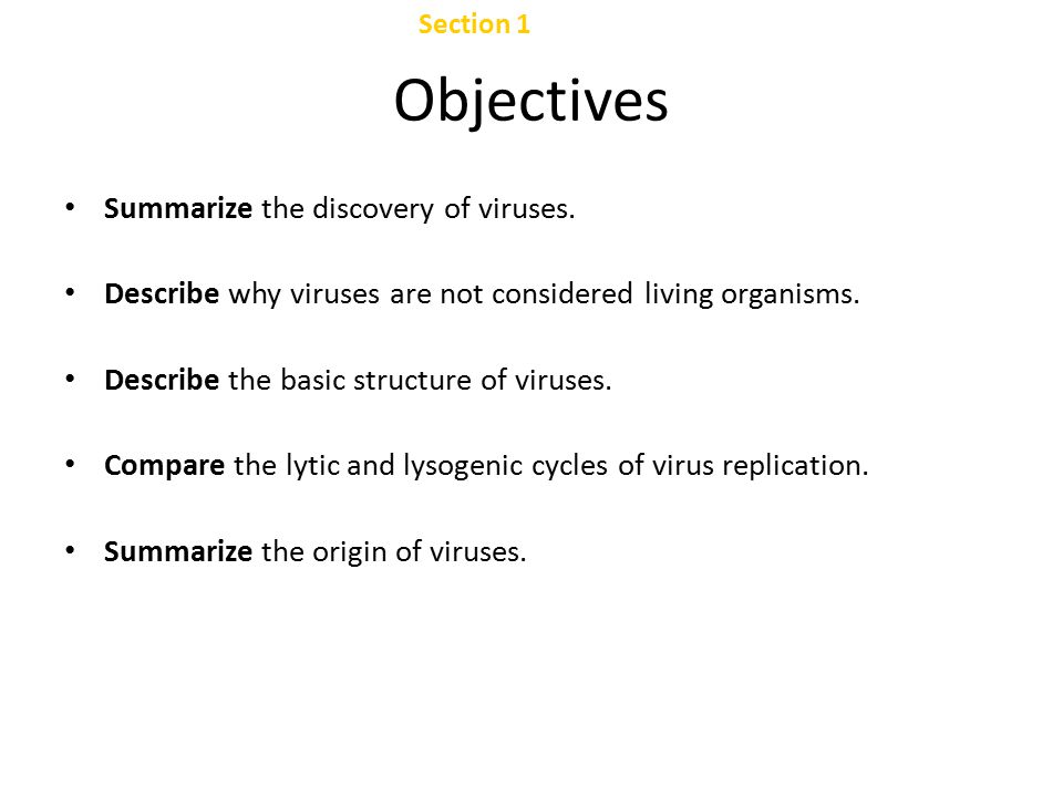 Viruses Chapter 24 Table of Contents Section 1 Viral Structure and Replication Section 2 Viral Diseases