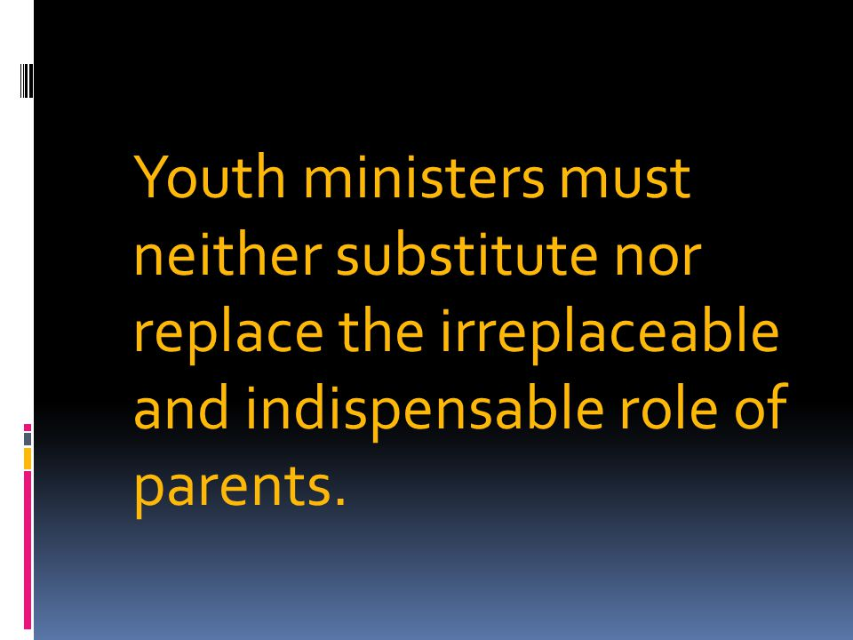 Youth ministers must neither substitute nor replace the irreplaceable and indispensable role of parents.