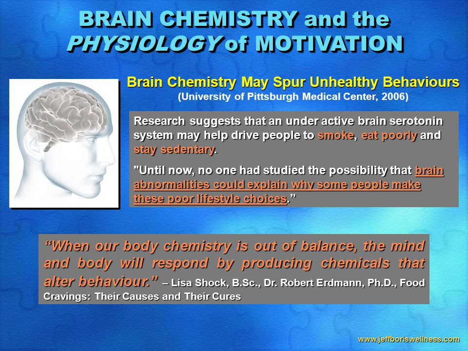 www.jeffboriswellness.com Brain Chemistry May Spur Unhealthy Behaviours (University of Pittsburgh Medical Center, 2006) Research suggests that an under active brain serotonin system may help drive people to smoke, eat poorly and stay sedentary.