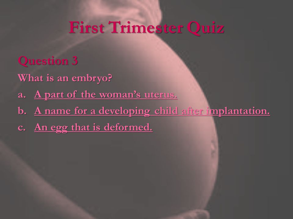 First Trimester Quiz Question 3 What is an embryo.